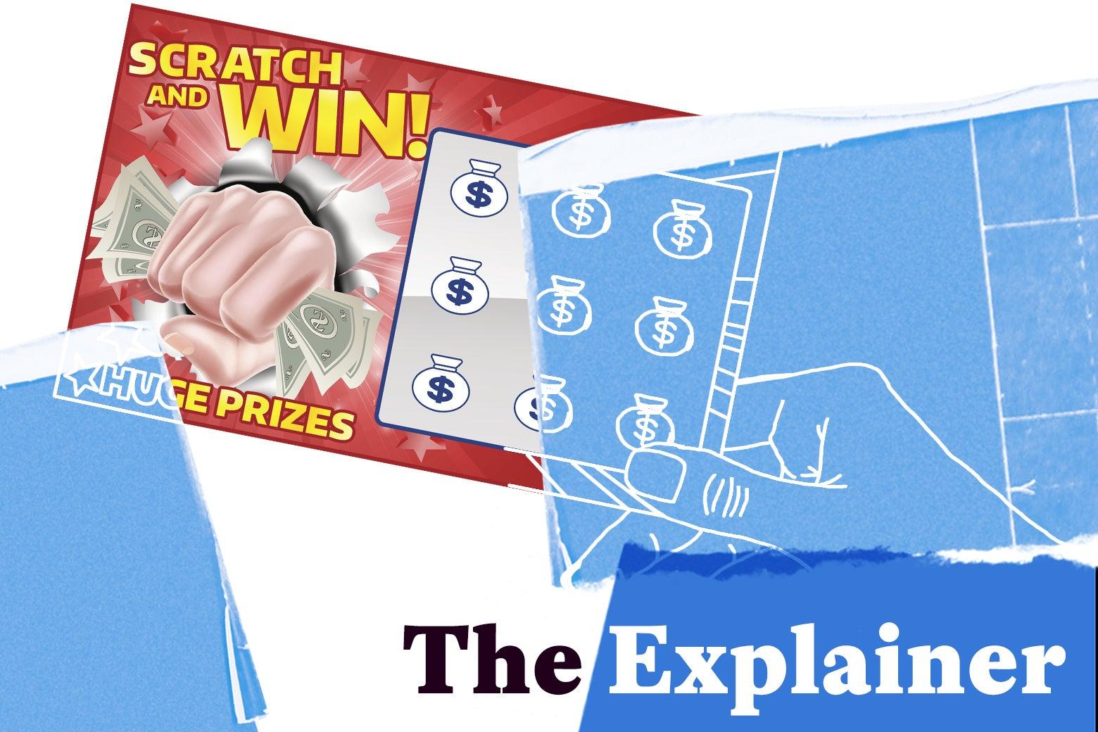 Scratch-off lottery ticket being taken