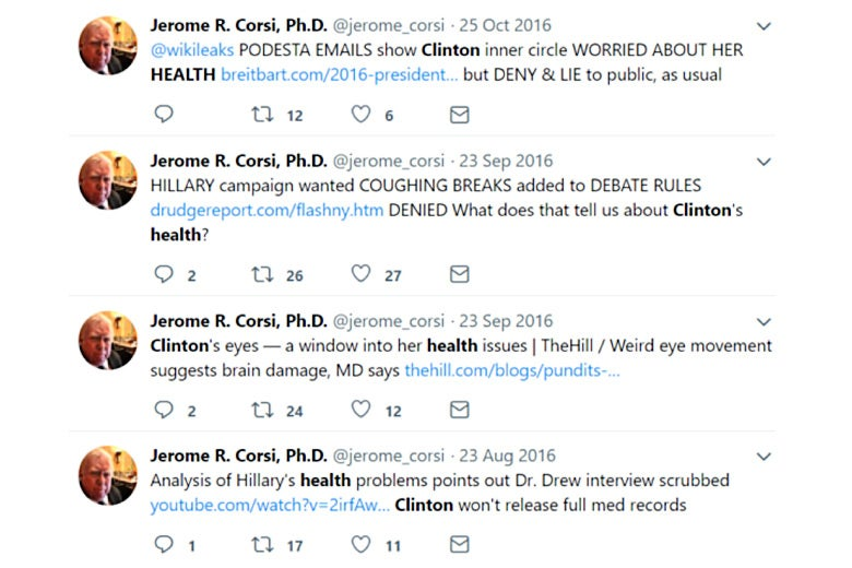 Screenshot of Jerome Corsi tweets concerning Hillary Clinton's health.