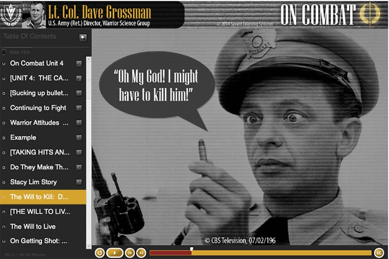 """A picture of Barney Fife holding a bullet with a speech bubble that says, """"Oh My God! I might have to kill him!"""""""