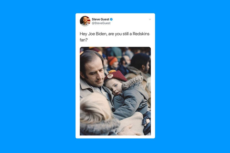 """A tweet that reads """"Hey Joe Biden, are you still a Redskins fan?"""" with a photo of a younger Biden holding a young boy wearing a Redskins hat"""