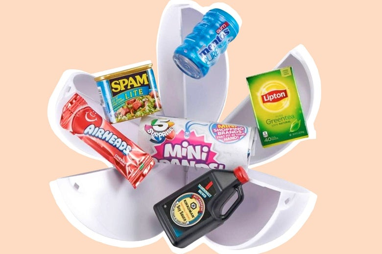 Five-segment spherical capsule bursting open with mini versions of a Mentos container, a Lipton tea box, a Kikkoman soy sauce bottle, an AirHeads package, and a Spam Lite can, with the 5 Surprise Mini Brands logo in the center
