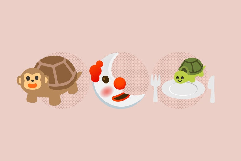 Emojis of a combination monkey/turtle, a clown moon, and a turtle on a plate.