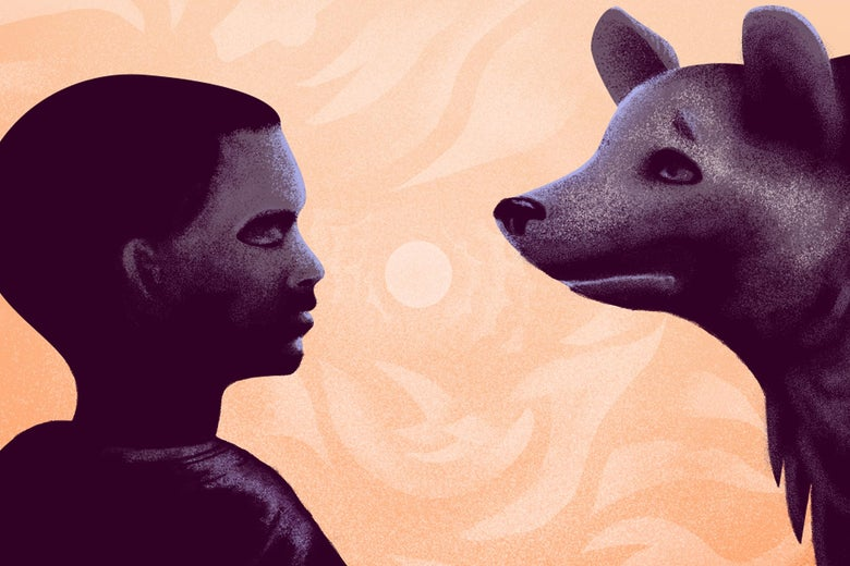 Illustration of a boy and a hyena looking at one another  in silhouette.