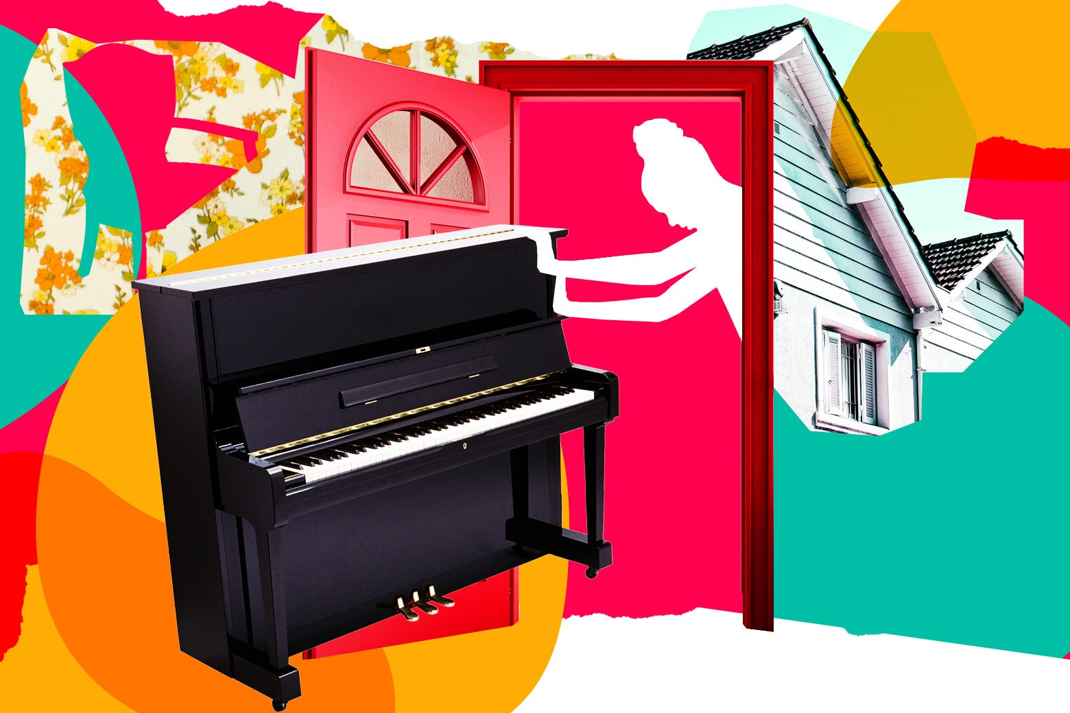 Collage of woman pushing a piano through a doorway.