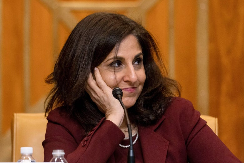 Neera Tanden  testifies during a Senate Budget Committee hearing on Capitol Hill in Washington, DC on February 10, 2021.