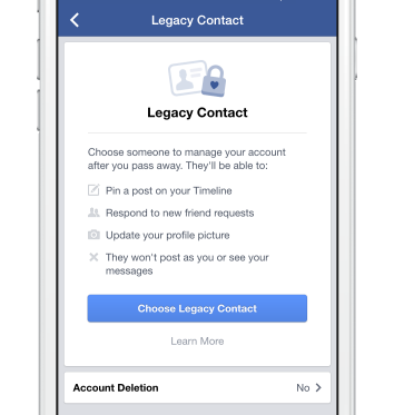 Legacy contact settings page