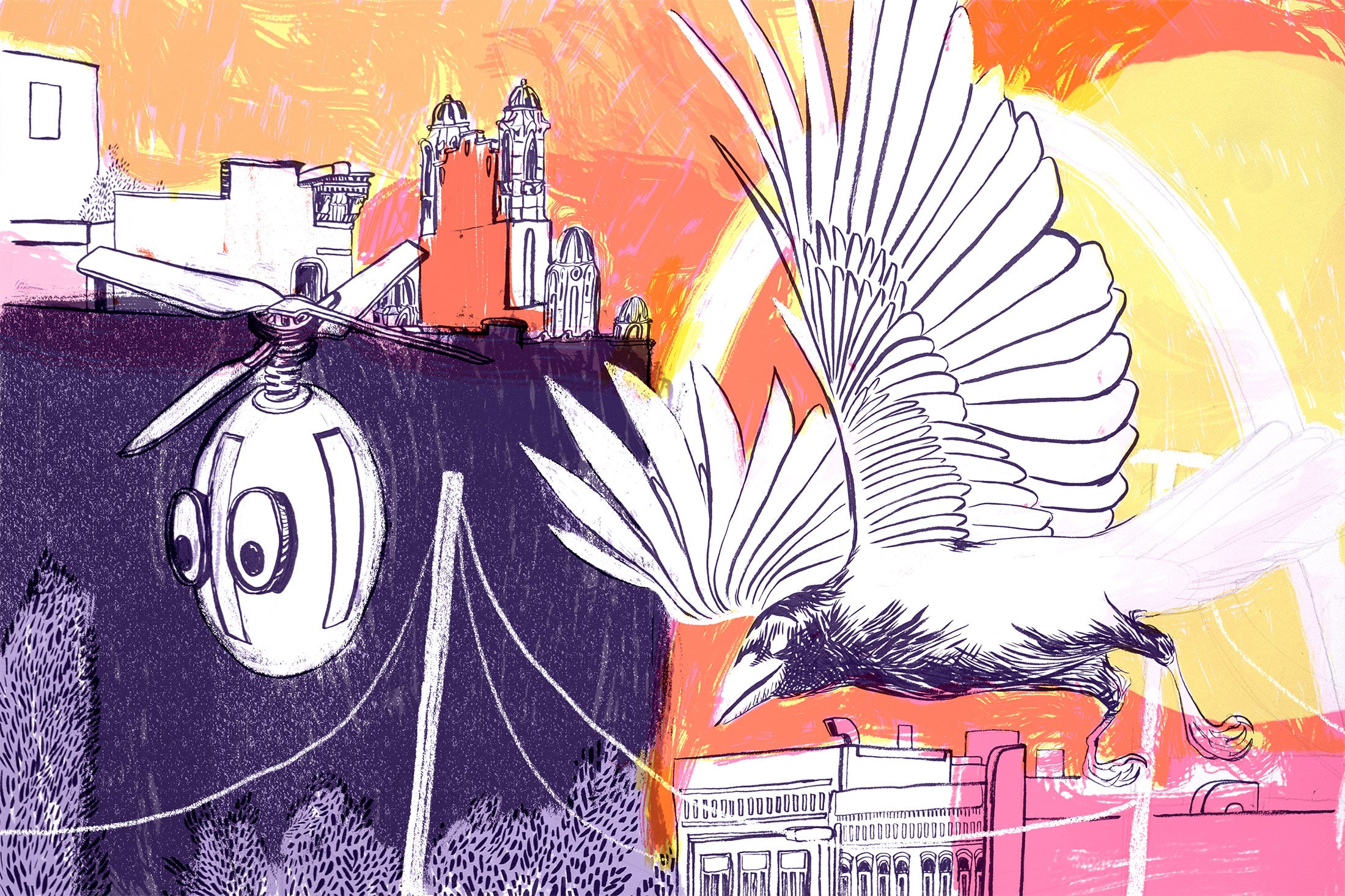 A drone with eyes flies next to a crow over the skyline of East St. Louis.