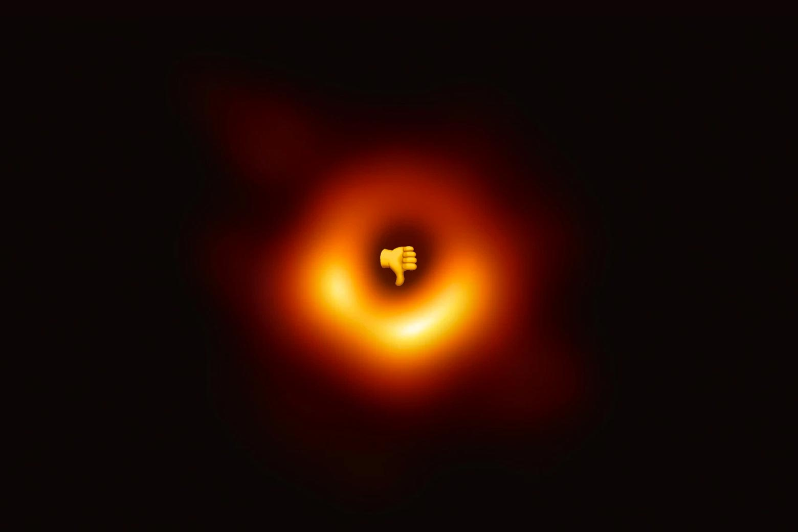 The black hole with a thumbs-down emoji in the center.