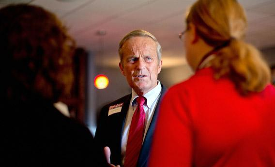 Rep. Todd Akin (R-MO) speaks to supporters during a fundraiser last week in Kirkwood, Missouri.