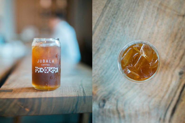 A diptych photo, one side showing a jar of coffee lemonade, the second showing the drink from above.