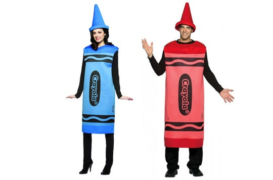 Couple dressed as crayons.
