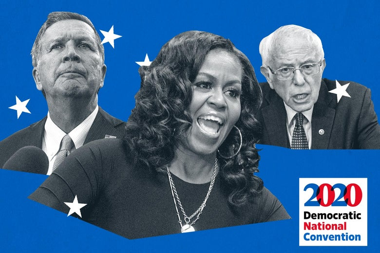 From left to right: John Kasich's floating head, Michelle Obama's floating head, Bernie Sanders' floating head with a Democratic 2020 convention logo.