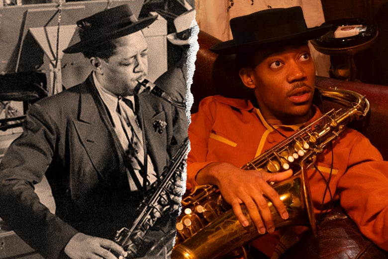 Lester Young and Tyler James Williams, each with a saxophone in hand.