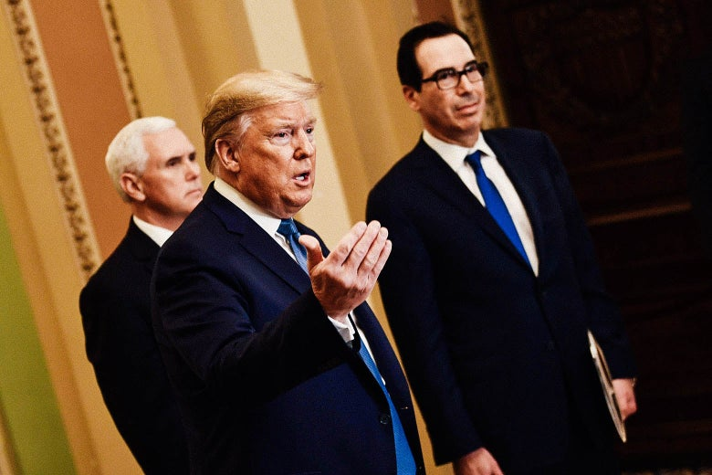 Donald Trump at the Capitol with Vice President Mike Pence and Treasury Secretary Steven Mnuchin.