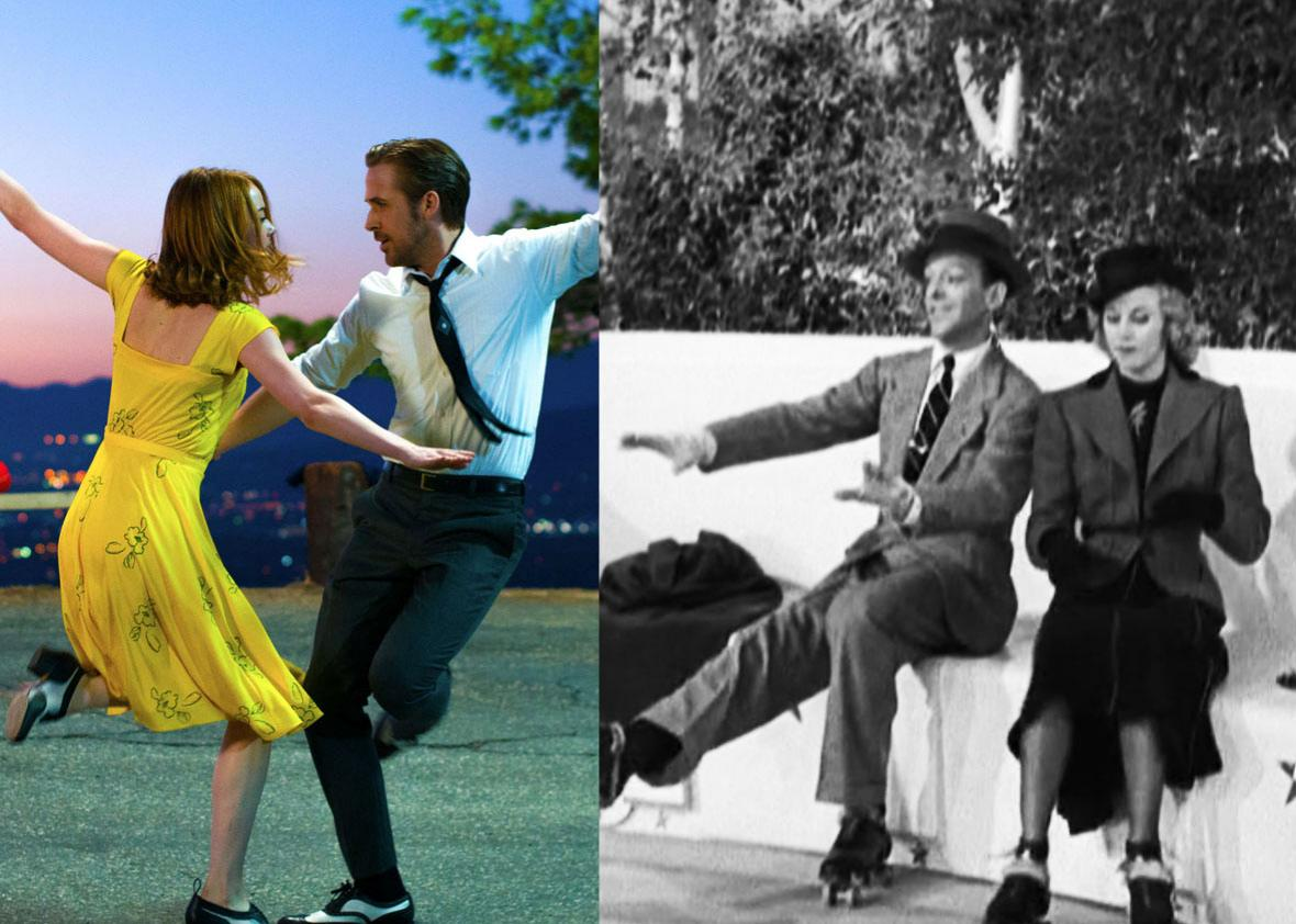 Left: Emma Stone and Ryan Gosling in La La Land. Right: Fred Astaire and Ginger Rogers in Shall We Dance.