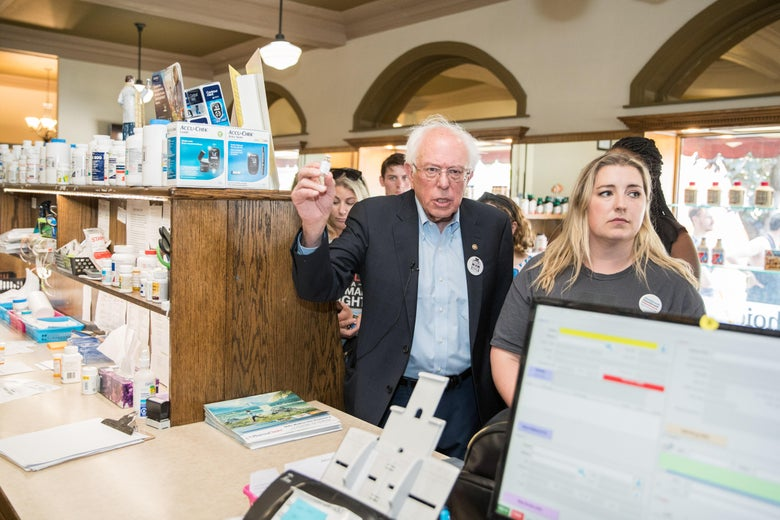 Bernie Sanders at a pharmacy in Canada