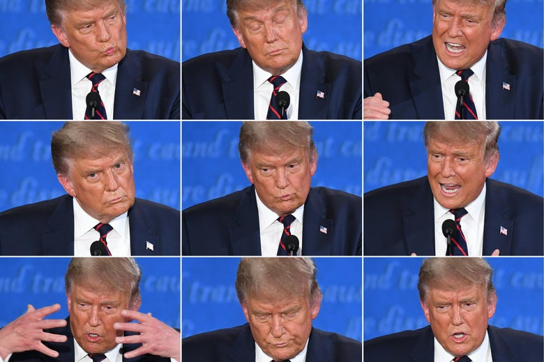 A grid of Donald Trump making many facial expressions during the debate.