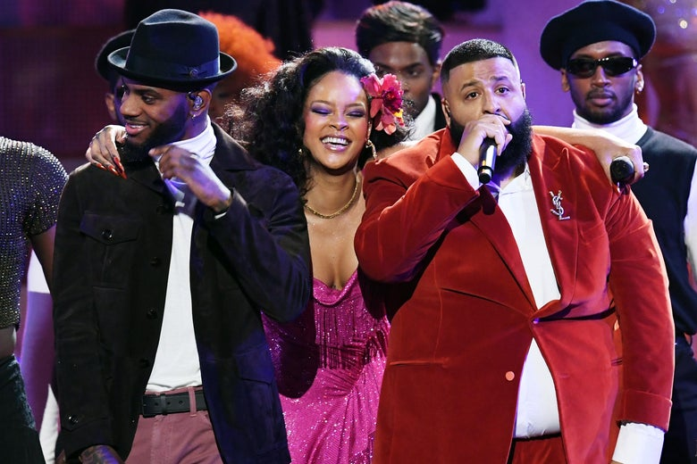 Bryson Tiller, Rihanna and DJ Khaled perform onstage during the 60th Annual GRAMMY Awards at Madison Square Garden on January 28, 2018 in New York City.