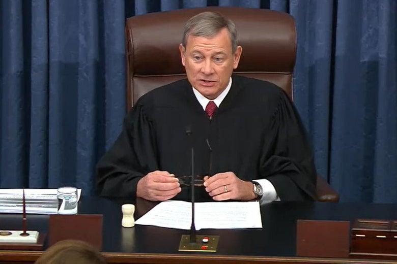 John Roberts, wearing his chief judge robe before the Senate.