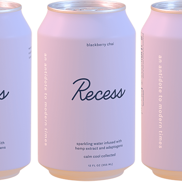A can of Recess seltzer.