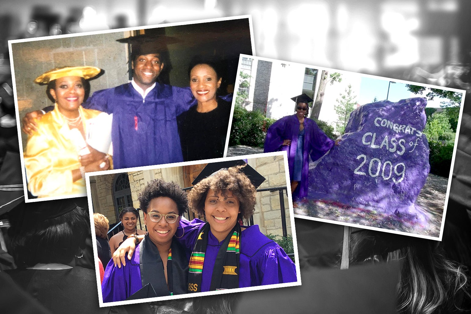 A collection of the author's photos from their respective graduation days.