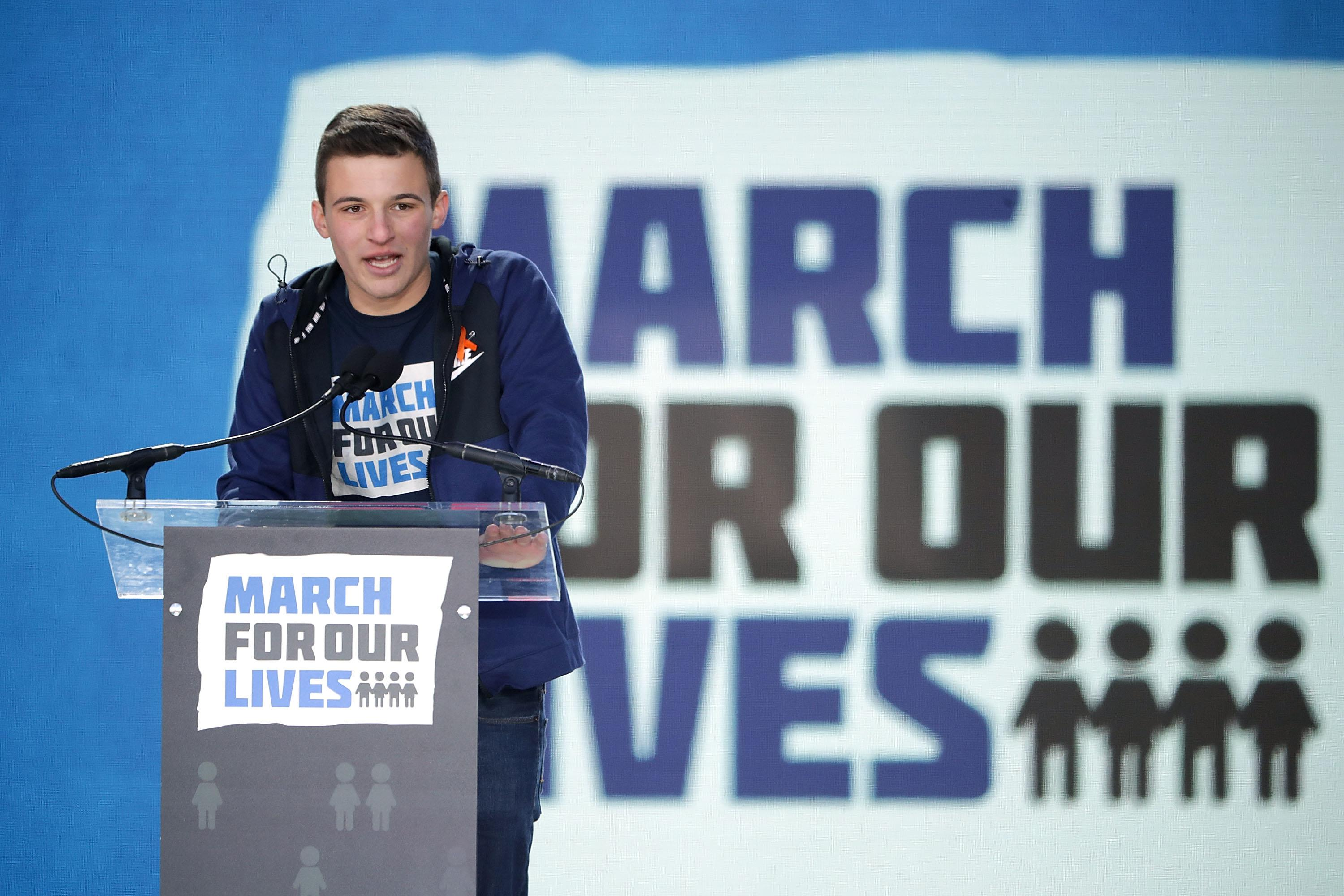 Marjory Stoneman Douglas High School Student Cameron Kasky addresses the March for Our Lives rally on March 24, 2018 in Washington, D.C.