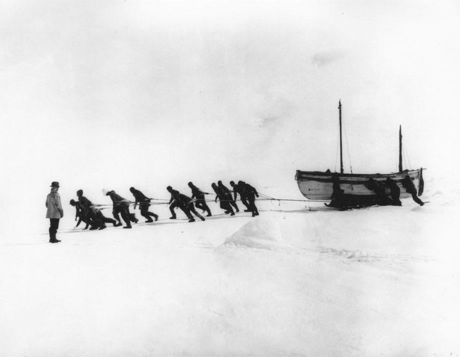 Shackleton's Antarctic Expedition, Ernest Shackleton, Frank Hurley, Antarctica, The Ralls Collection, Relaying the James Caird