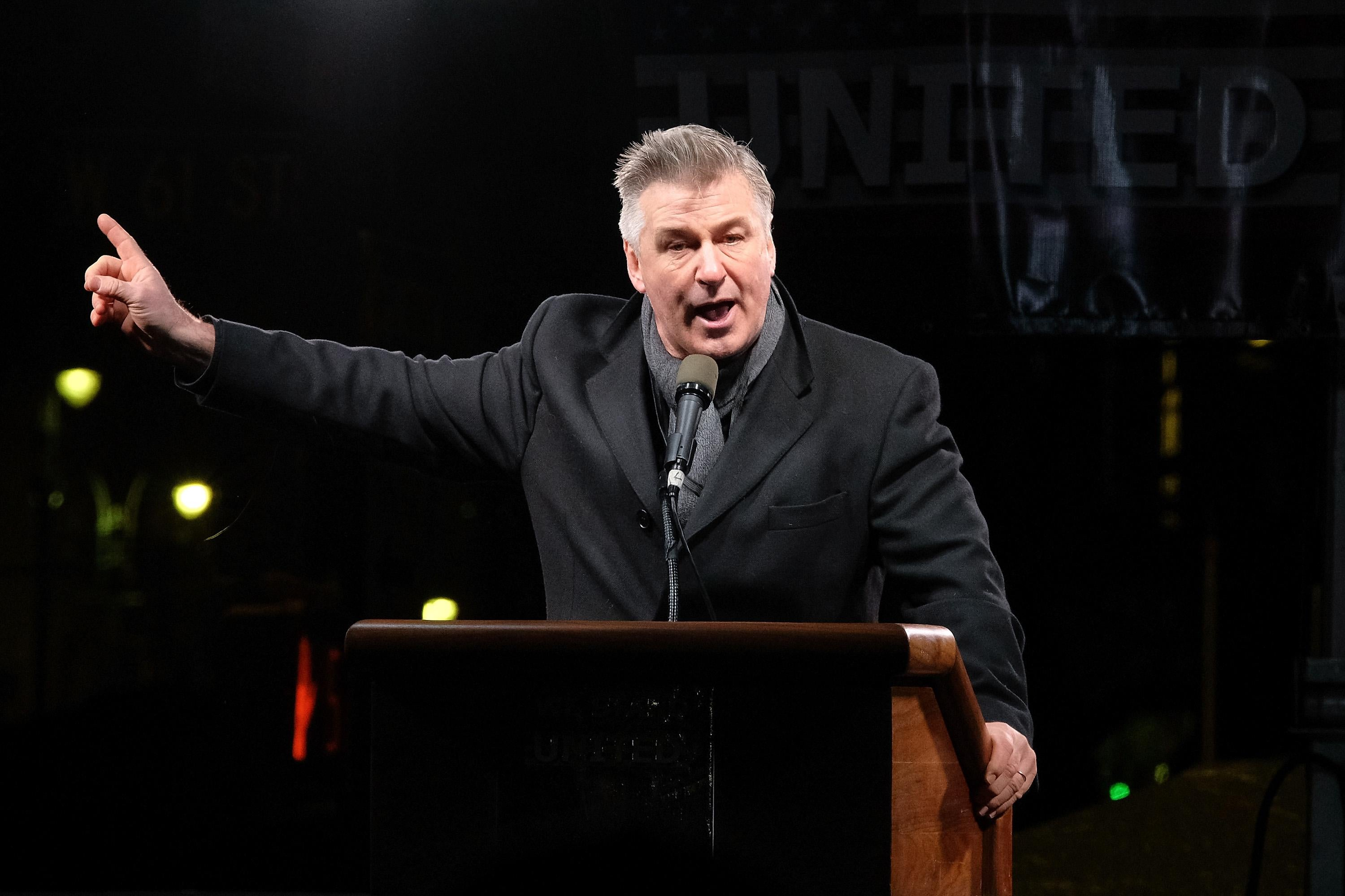 Alec Baldwin speaks onstage during the We Stand United NYC Rally outside Trump International Hotel & Tower on January 19, 2017 in New York City.