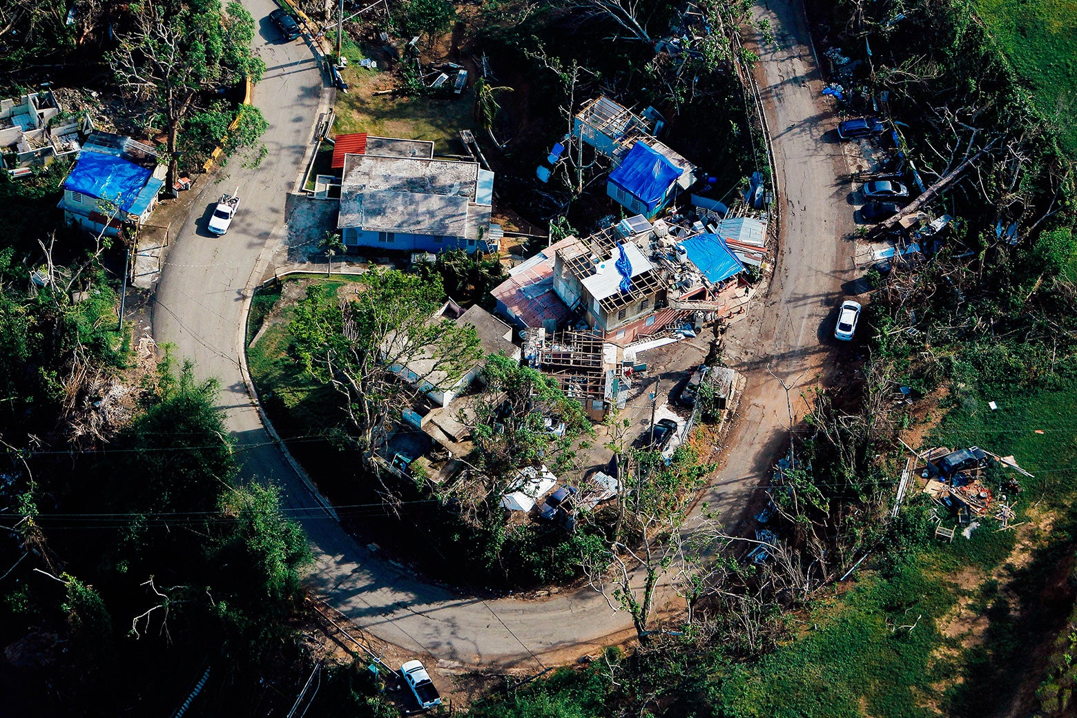 An aerial view of houses affected by the passing of Hurricane Maria in Naranjito, Puerto Rico, on Oct. 23.