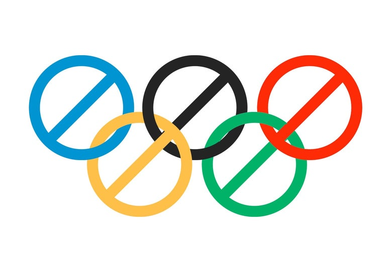 """The Olympic rings as """"do not enter"""" signs."""