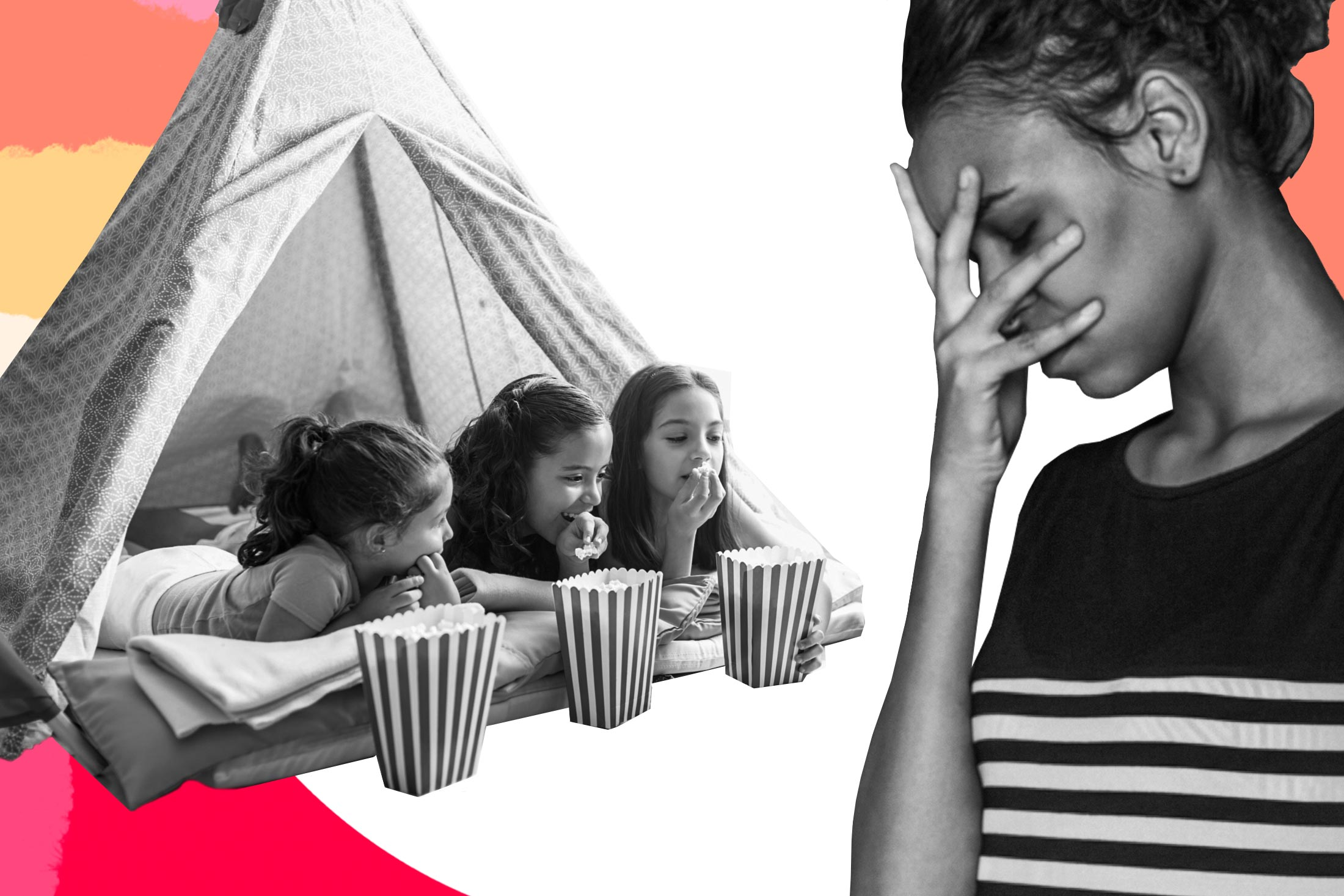 Collage of a woman putting her hand on her face in frustration, next to three kids eating popcorn in a tent at a sleepover.