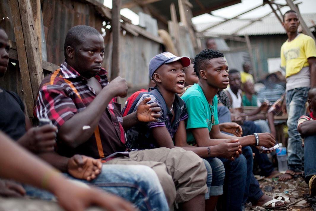 Lagos, Nigeria- Fans look on during a Dambe match in Lagos, Nigeria.