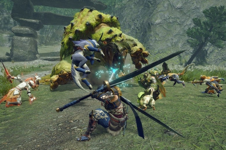 A group of warriors stand in a grassy field and fight against a large green monster. They are wielding swords.