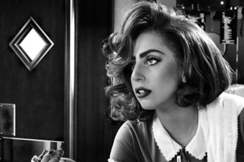A black-and-white image of Lady Gaga in American Horror Story.