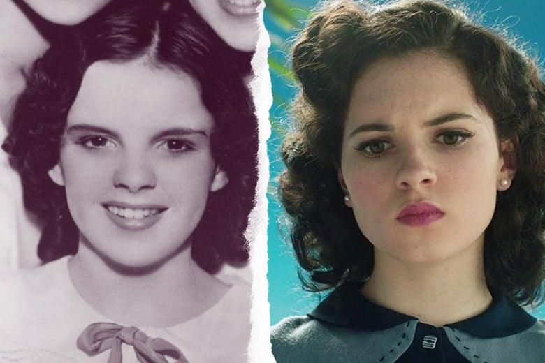 Side-by-side of young Judy Garland, and Darci Shaw as young Judy Garland in the movie Judy.