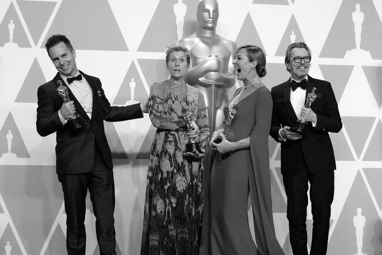 Sam Rockwell, winner of the Best Supporting Actor award for 'Three Billboards Outside Ebbing, Missouri;' Frances McDormand, winner of the Best Actress award for 'Three Billboards Outside Ebbing, Missouri;' Allison Janney, winner of the Best Supporting Actress award for 'I, Tonya;' and Gary Oldman, winner of the Best Actor award for 'Darkest Hour,' during 90th Annual Academy Awards on March 4, 2018.