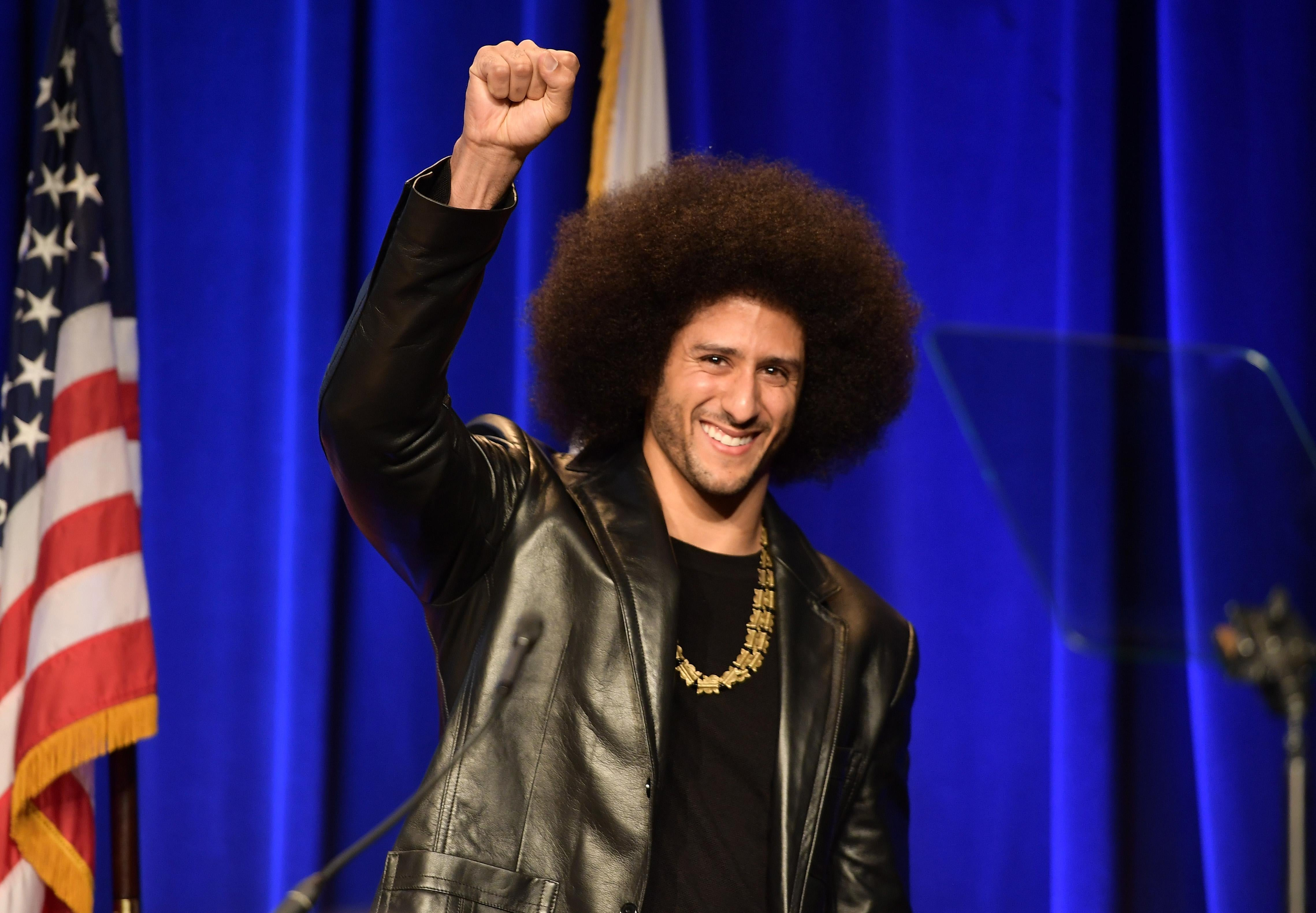 Colin Kaepernick speaks at an ACLU event on December 3, 2017 in Beverly Hills, California.