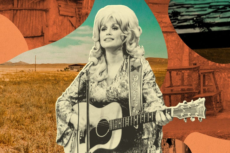 Dolly Parton with an acoustic guitar and incredible head of hair in 1974, shown before a rural landscape with a shack in it, a field, and weathered wooden home structures