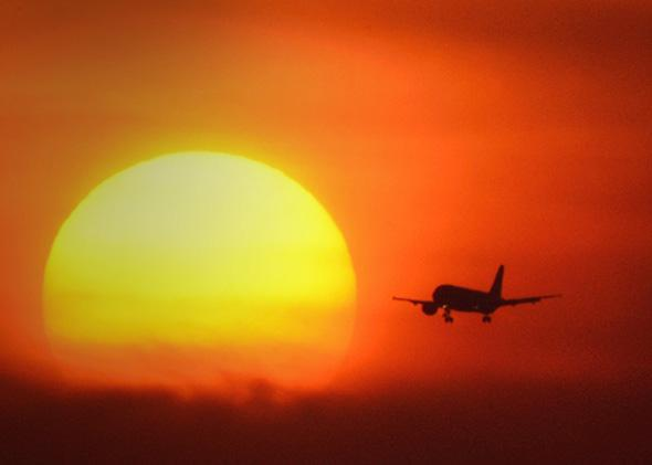 A plane arrives at O'Hare International Airport on May 19, 2012 in Chicago, Illinois.