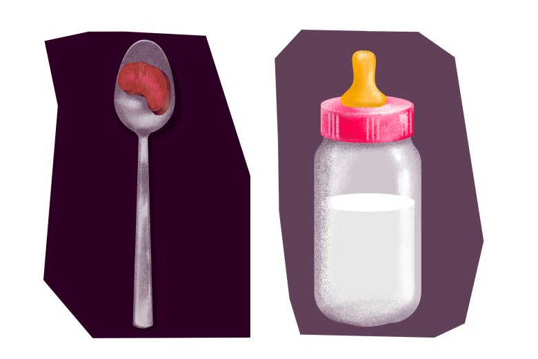 Illustration: a spoonful of meat and a baby bottle.