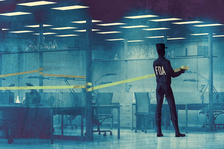 An illustration of an FDA agent closing off a lab with yellow tape.