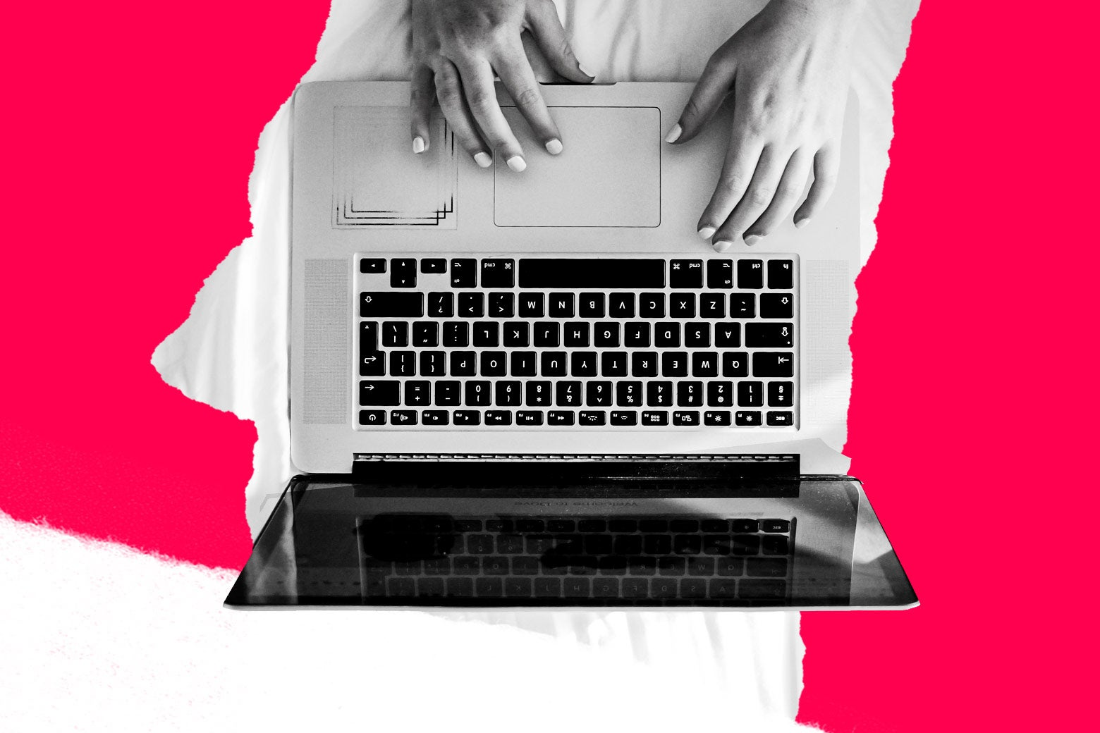 Photo illustration of a woman on a laptop.