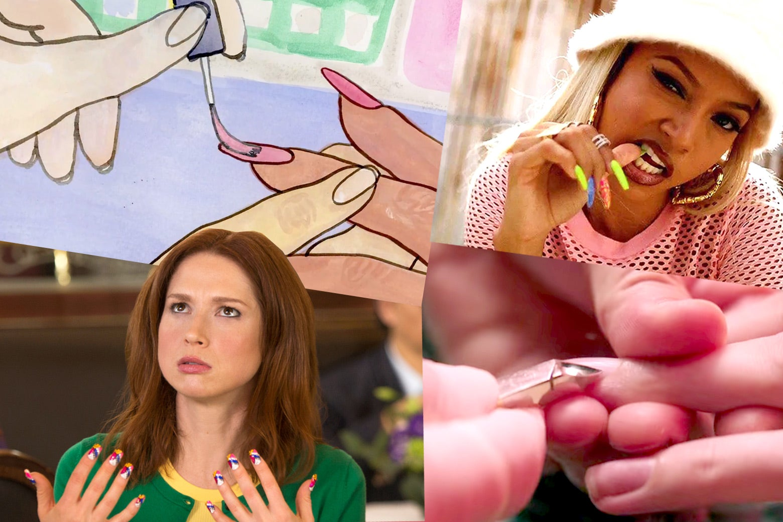 A collage of stills from several movies and TV shows depicting nail salon.