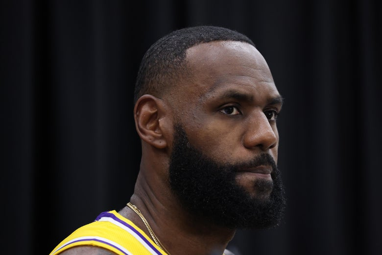 A close-up of LeBron James in his Los Angeles Lakers uniform.