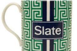Slate Plus ceramic mug made by Jonathan Adler with Slate logo
