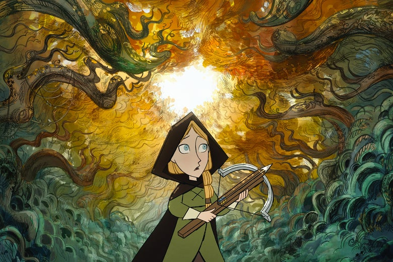 A young woman with a crossbow navigates a forbidding Irish forest.