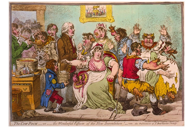 Cartoon satirizing a scene at the Smallpox and Inoculation Hospital at St. Pancras, showing cowpox vaccine being administered to frightened young women and cows emerging from different parts of people's bodies