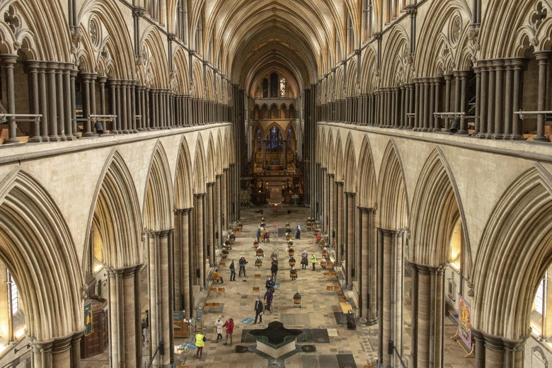 An overhead shot of people getting COVID-19 vaccination shots at Salisbury Cathedral