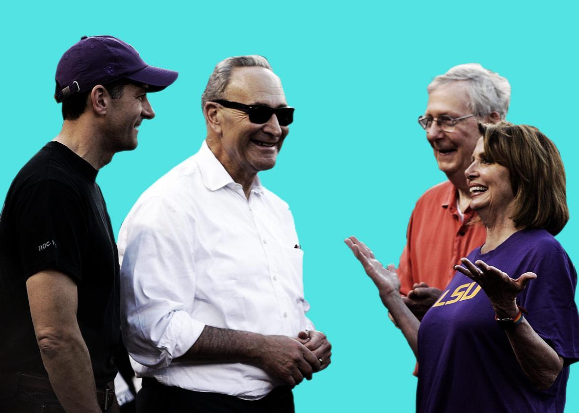 House Speaker Paul Ryan, Senate Minority Leader Charles Schumer, Senate Majority Leader Mitch McConnell, and House Minority Leader Nancy Pelosi.