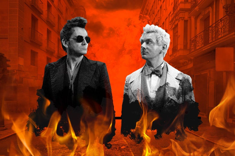 Photo illustration of David Tennant's Crowley and Michael Sheen's Azriphale surrounded by flames.